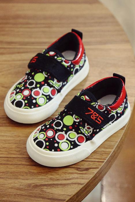 75儿童帆布鞋男童女童涂鸦低帮休闲鞋秋季新款韩版百搭宝宝鞋