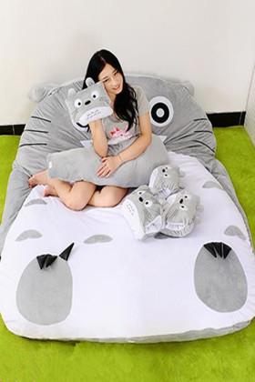 龙猫懒人沙发床单人卡通榻榻米床垫可爱创意卧室小沙发床上靠背椅