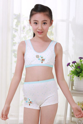 女童发育期文胸儿童内衣纯棉小背心学生内裤大童胸罩女孩少女套装