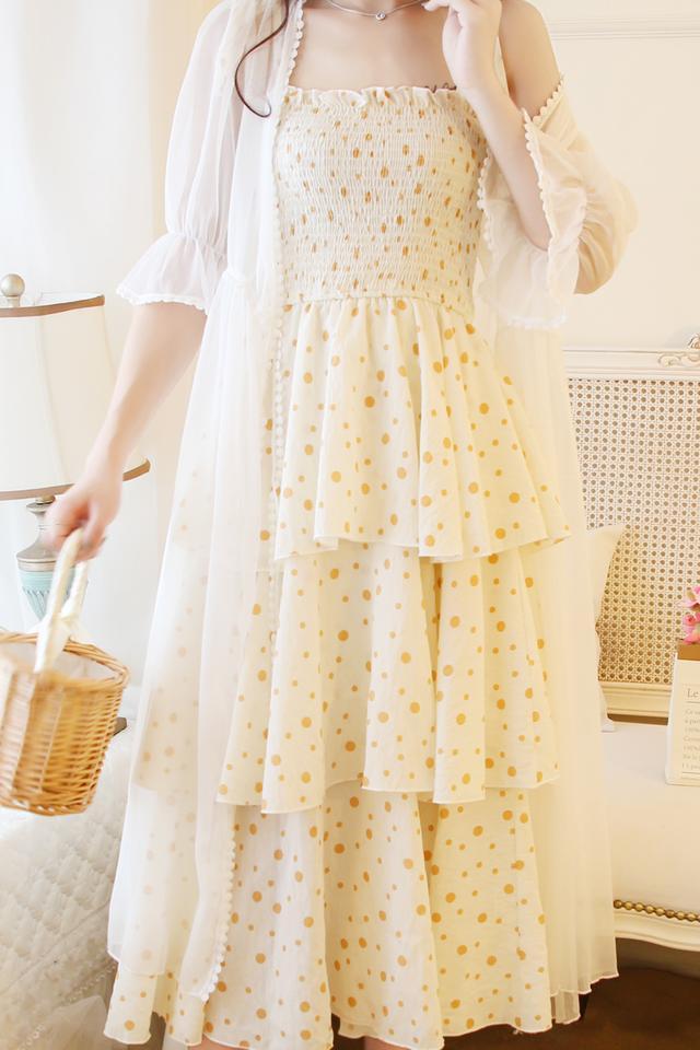 小清新系带波点吊带连衣裙蛋糕裙夏季仙女裙收腰显瘦小众连衣裙女