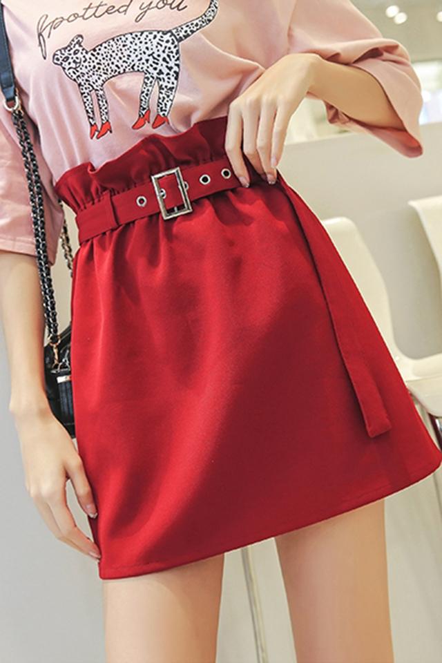 夏装红色半身裙女学生高腰法式A字裙修身显瘦夏季女装新款短裙子