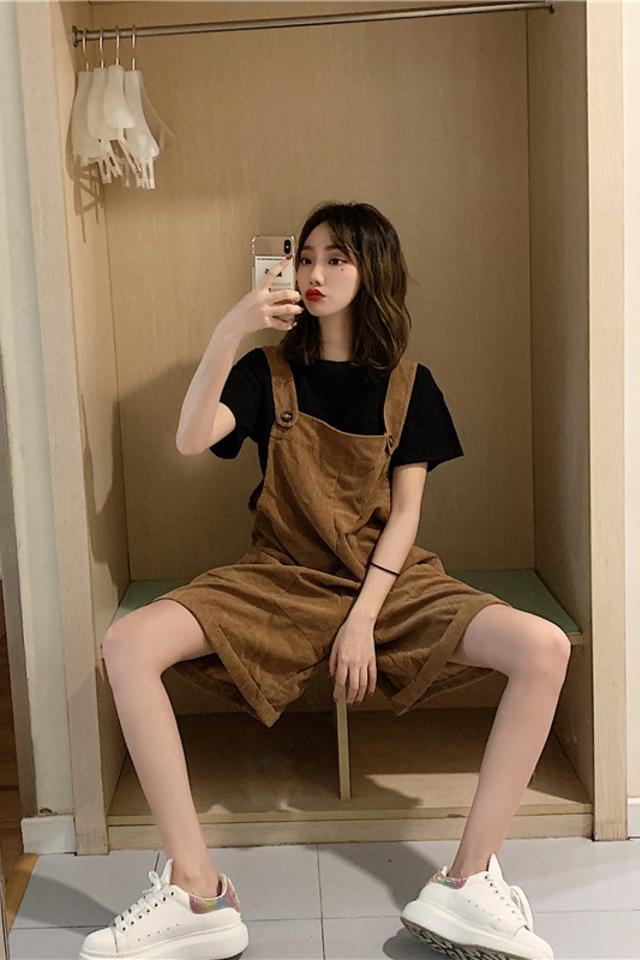 休闲宽松T恤+宽松阔腿裤套装两件套短款裤子背带裤时尚套装夏季