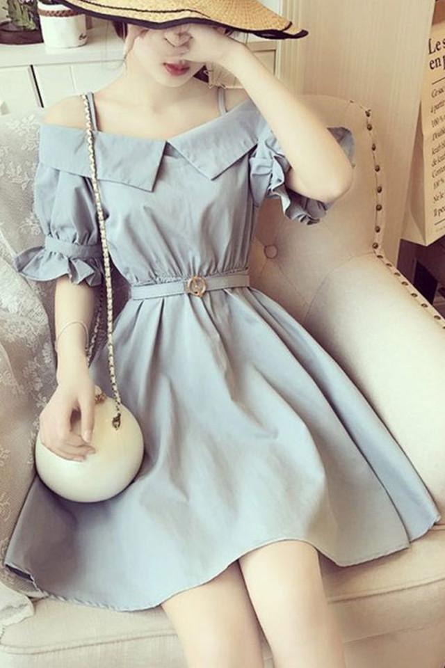 韩国名媛气质露肩吊带一字领荷叶边木耳喇叭袖收腰淑女连衣裙