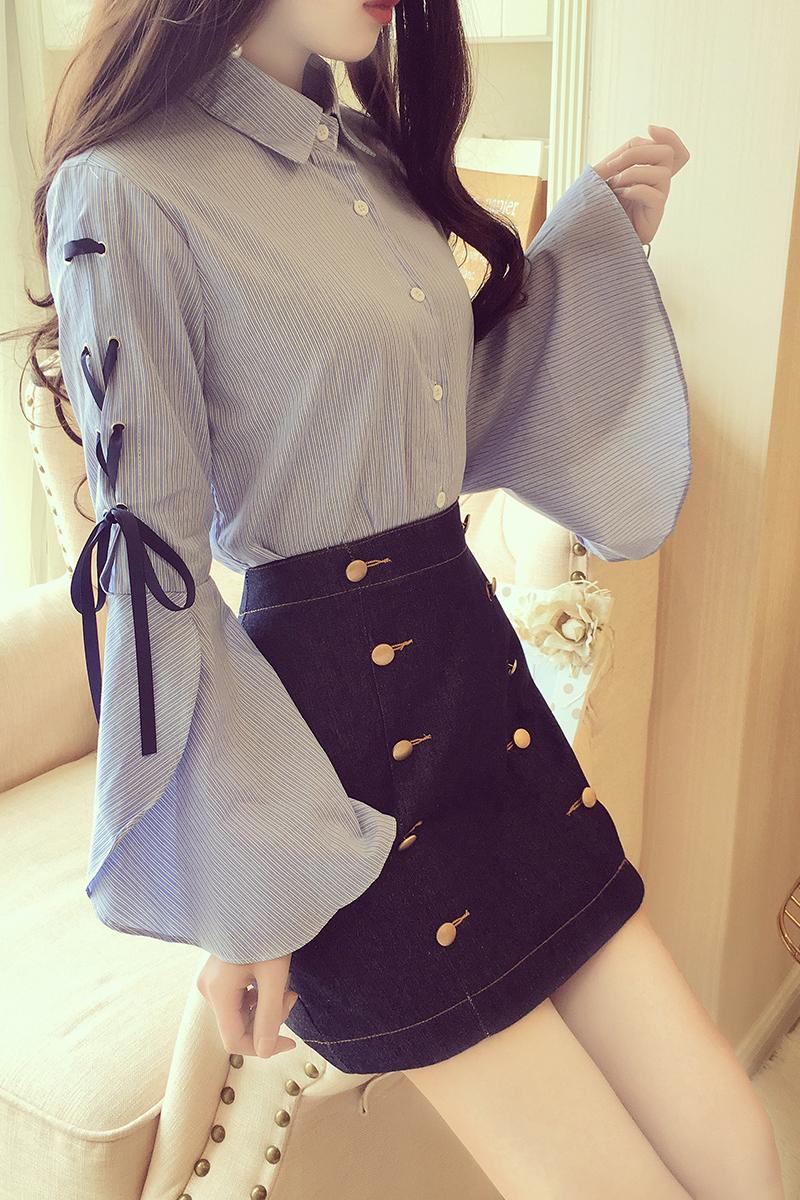 新款淑女翻领蝴蝶结喇叭袖排扣衬衫高腰显瘦A型纽扣半身裙两件套