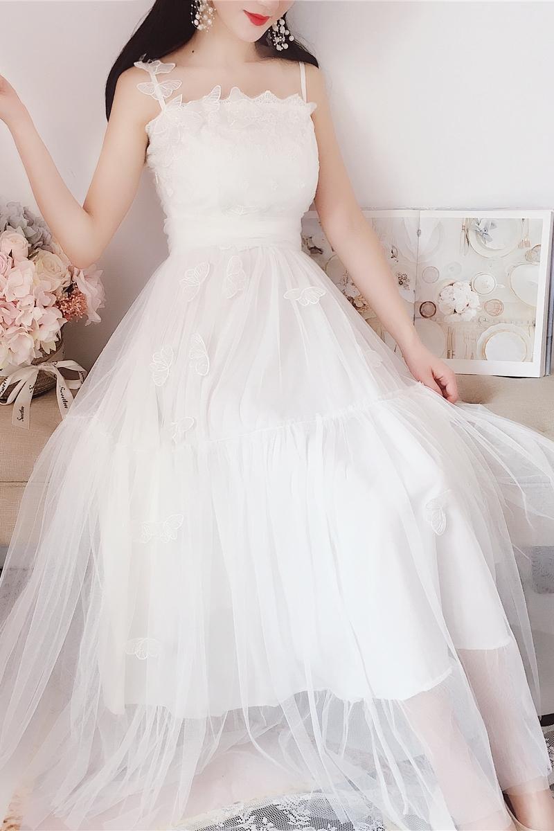 韩国白色网纱蛋糕裙蝴蝶结高腰大摆仙女蕾丝花朵刺绣吊带长裙连衣裙夏