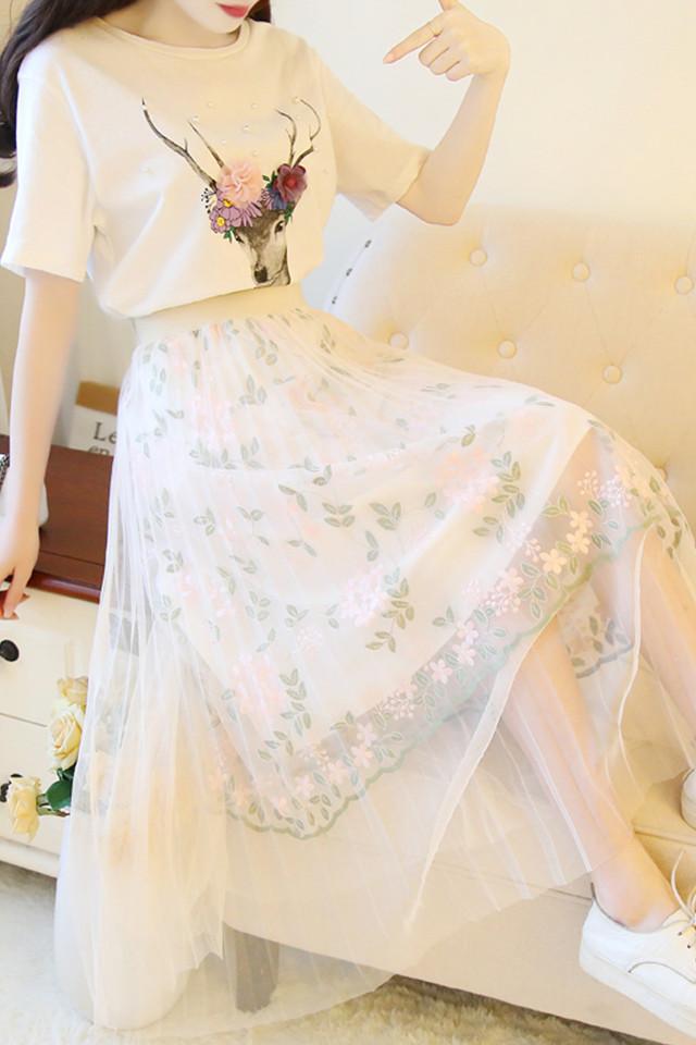 学院风套装韩版甜美小清新小鹿T恤上衣配刺绣网纱半身裙长裙仙女两件套夏