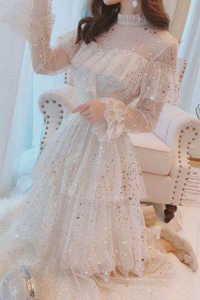 韩系公主风网纱荷叶边星星亮片甜美喇叭袖收腰仙女蛋糕裙中长款连衣裙