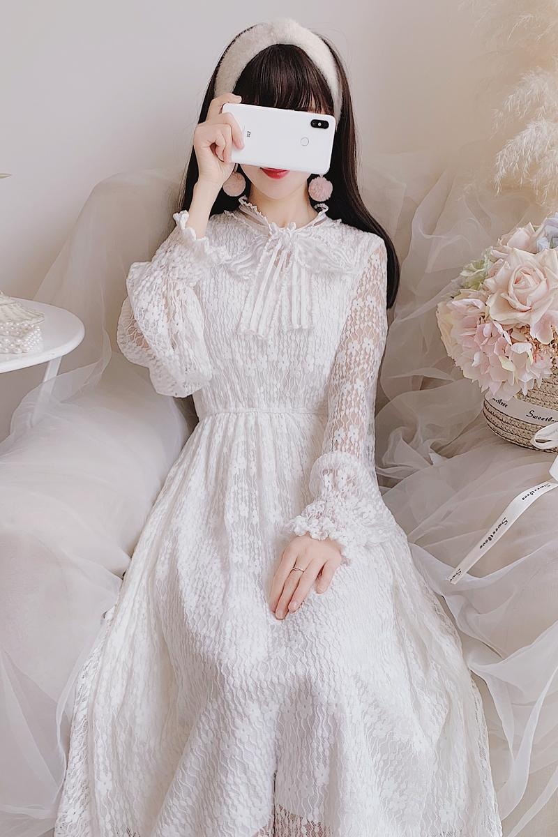 韩系公主风拼接网纱勾花蕾丝纯色透视气质收腰少女仙女中长款连衣裙
