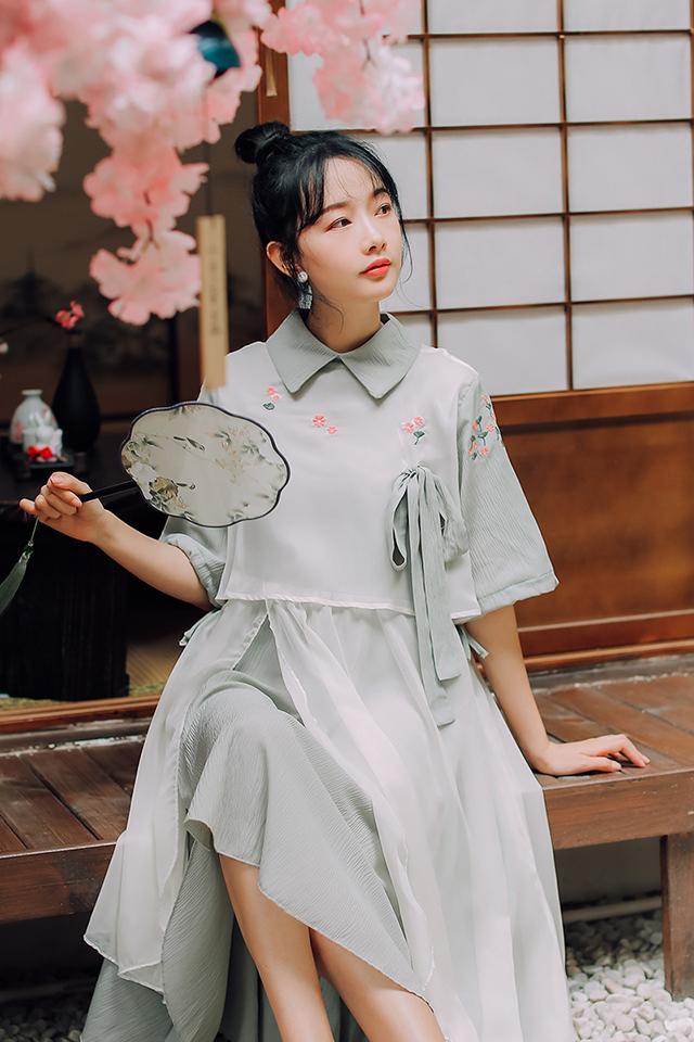 中国风小清新温柔复古学生裙子女汉元素民国风学院宽松中长连衣裙