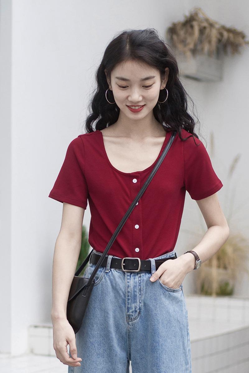 纯色圆领t恤女短袖春装上衣修身显瘦新款韩版夏季女装新款体恤衫
