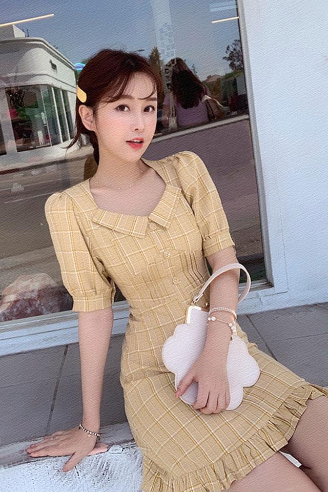 气质连衣裙女2019夏季很仙的法国小众连衣裙高腰泡泡袖a字裙