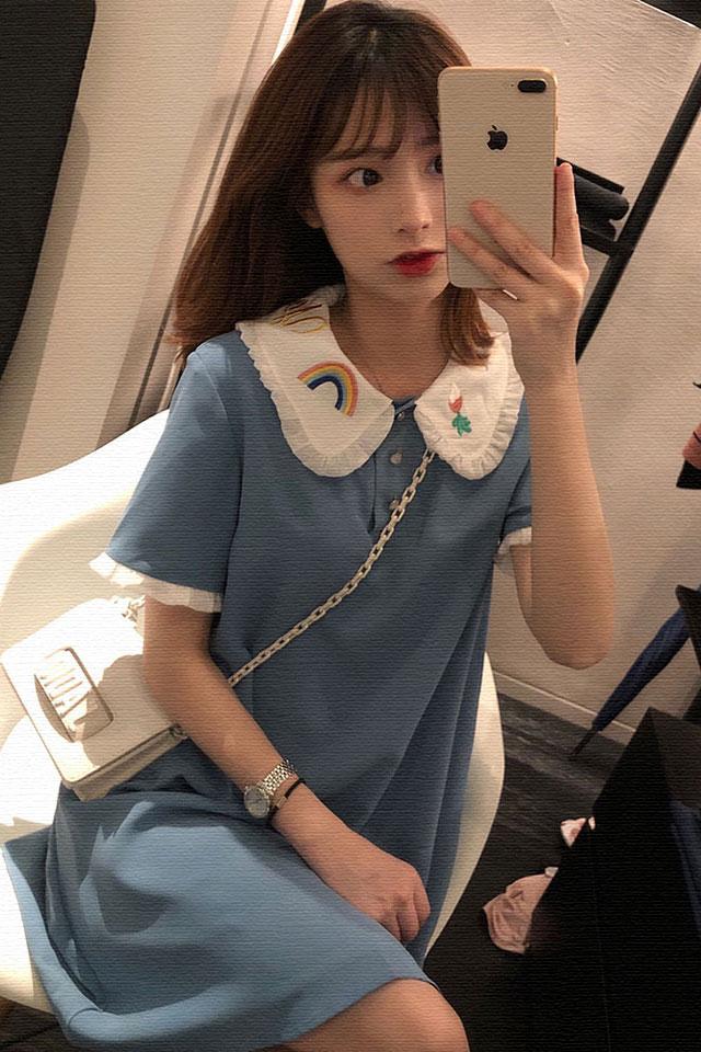 气质连衣裙女甜美温柔淑女学生小个子娃娃领连衣裙初恋仙女裙子