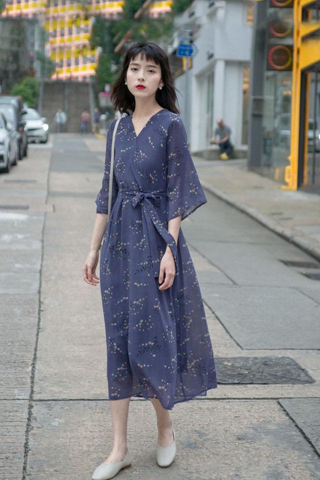 雪纺连衣裙女2019夏季流行女装超仙森系小众智熏裙法式桔梗裙