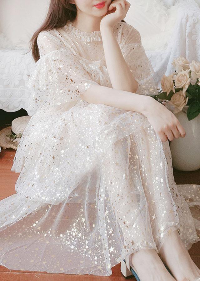 夏季2019新款星星亮片长款仙女裙网纱甜美显瘦梦幻蓬蓬蛋糕裙