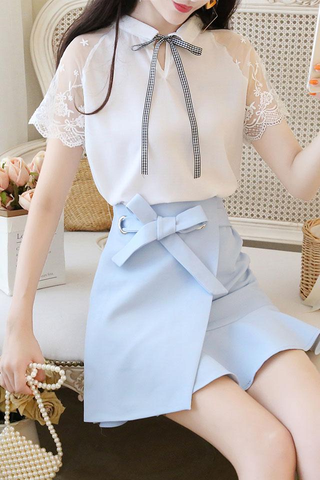 2019夏新款翻领蕾丝拼接学生衬衫上衣+荷叶边显瘦半身裙套装