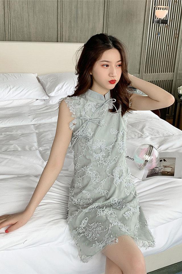 2019夏季新款高腰蕾丝网纱无袖连衣裙女小个子改良版优雅旗袍