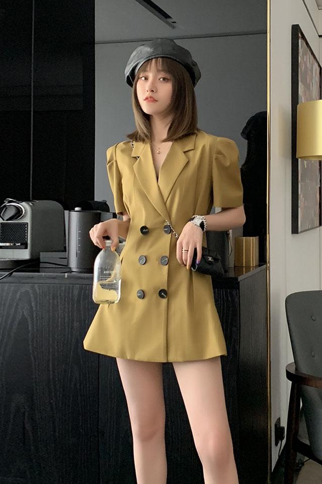 气质连衣裙女2019夏季流行女装高腰休闲双排扣西装领连衣裙子