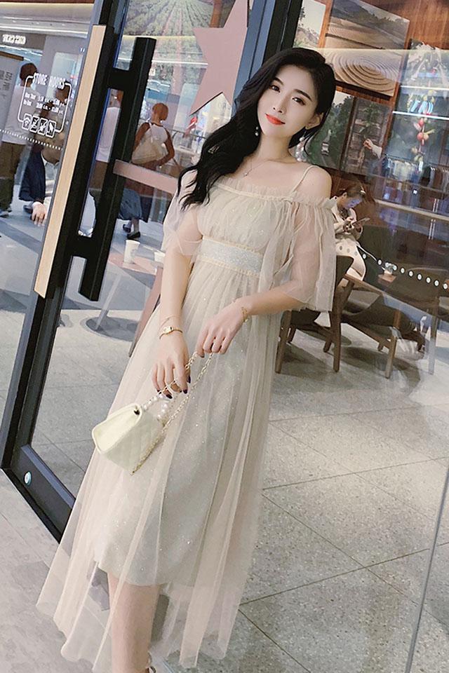 很仙的吊带气质连衣裙夏季新款韩版甜美淑女收腰网纱中长款裙子潮