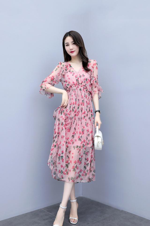 夏季韩版新款甜美雪纺裙中长款V领收腰显瘦印花裙气质连衣裙子潮