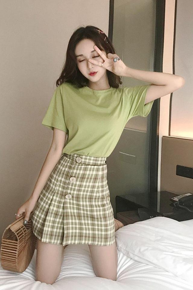 时尚套装女2019夏季流行女装短袖T恤+格子半身裙两件套装裙