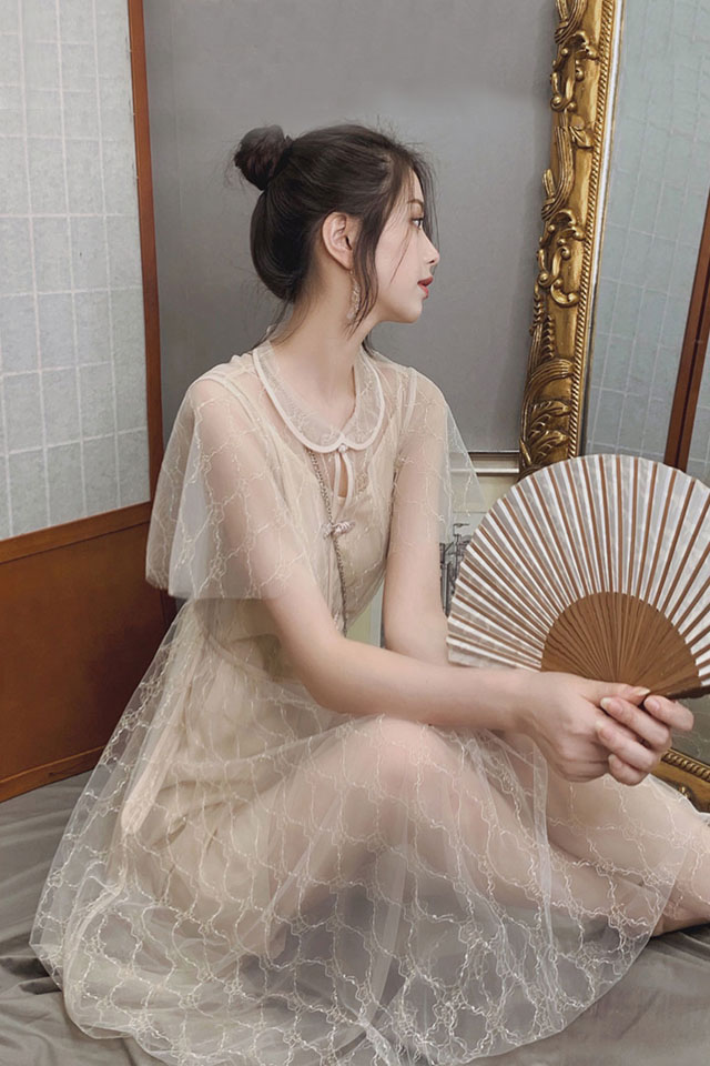 很仙的复古修身显瘦网纱仙女裙气质连衣裙夏季新款国风中长裙子潮
