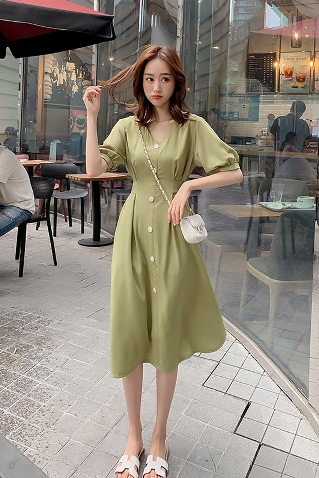 青春小清新牛油果绿雪纺裙子夏季韩版新款修身收腰显瘦气质连衣裙