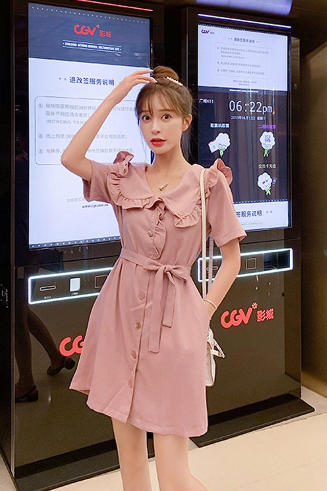 气质连衣裙女2019夏季流行女装韩版收腰显瘦甜美娃娃领连衣裙